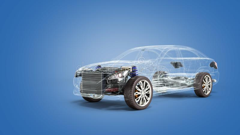 Взгляд 3d студии концепции автомобиля диагностический представляет изображение в сини иллюстрация штока