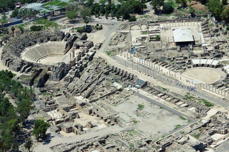 Взгляд Erial стародедовского Beit Shean в Израиле стоковые изображения rf
