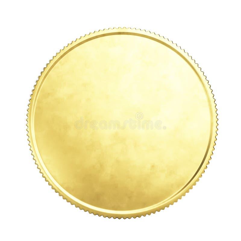 Взгляд Fron золотой монеты изолированный на белизне стоковые фотографии rf