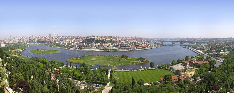 взгляд istanbul панорамный стоковые фотографии rf
