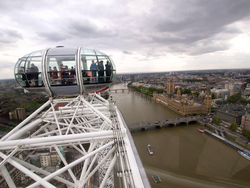 взгляд london глаза панорамный стоковая фотография