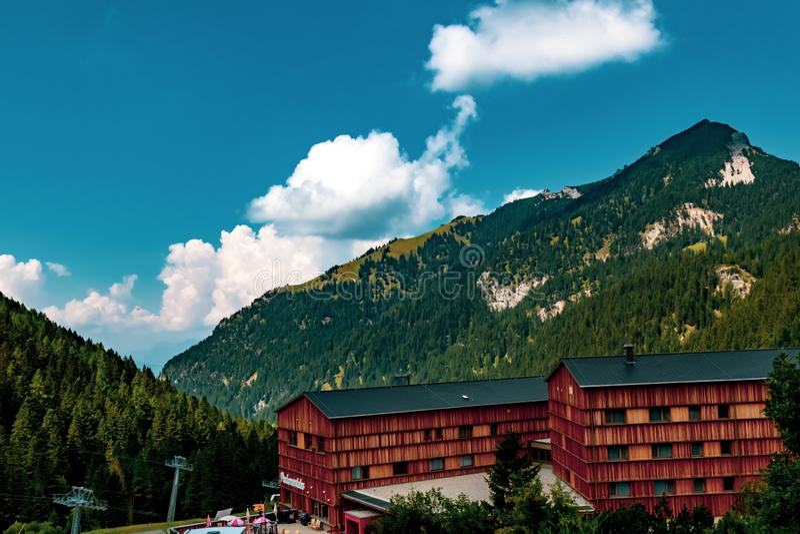 Взгляд Malbun, лыжный курорт в Лихтенштейне стоковые фотографии rf