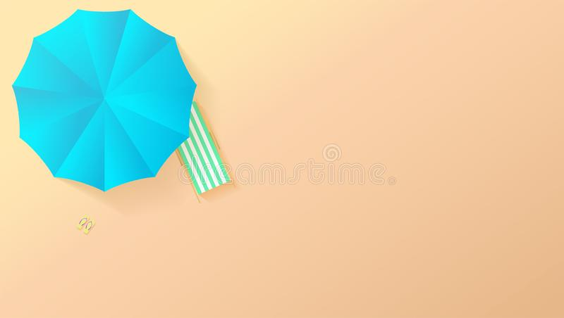 Взгляд Minimalistic пляжа лета в стиле бумажного ремесла, плоском положении Взгляд сверху на seashore с зонтиком солнца, шезлонга иллюстрация штока