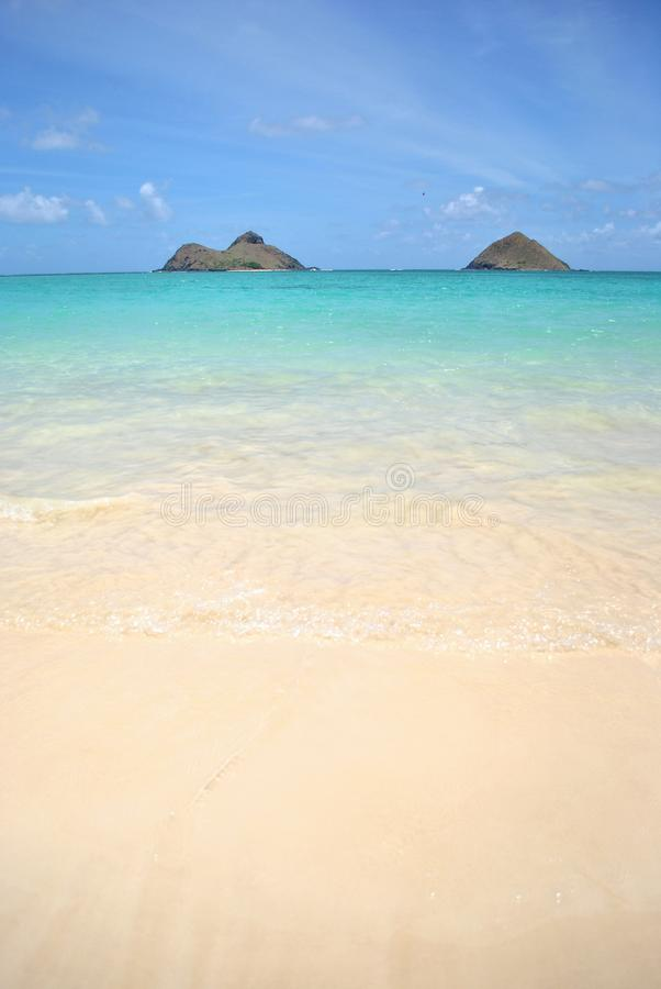 взгляд oahu mokolua lanikai островов пляжа стоковая фотография rf