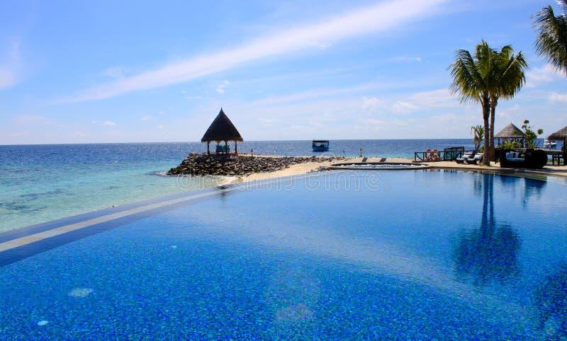 взгляд poolside пляжа стоковое фото rf