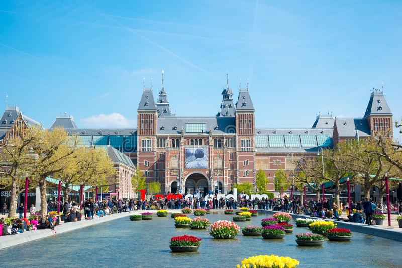 Взгляд Rijksmuseum в Амстердаме, Нидерландов стоковая фотография