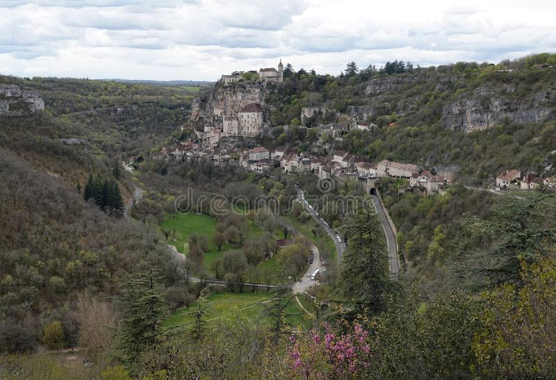 Взгляд Rocamadour средневековая деревня в Дордоне, Франции стоковое фото rf
