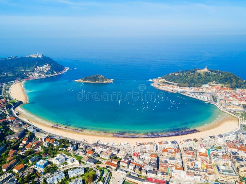 Взгляд San Sebastian воздушный панорамный стоковые фото
