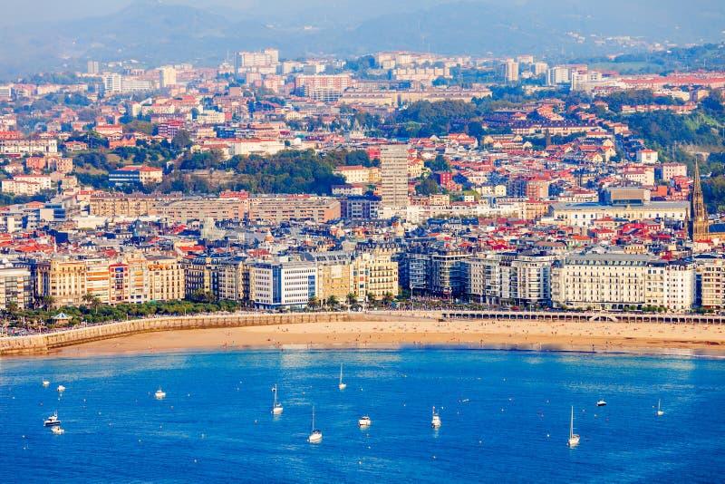 Взгляд San Sebastian воздушный панорамный стоковое фото