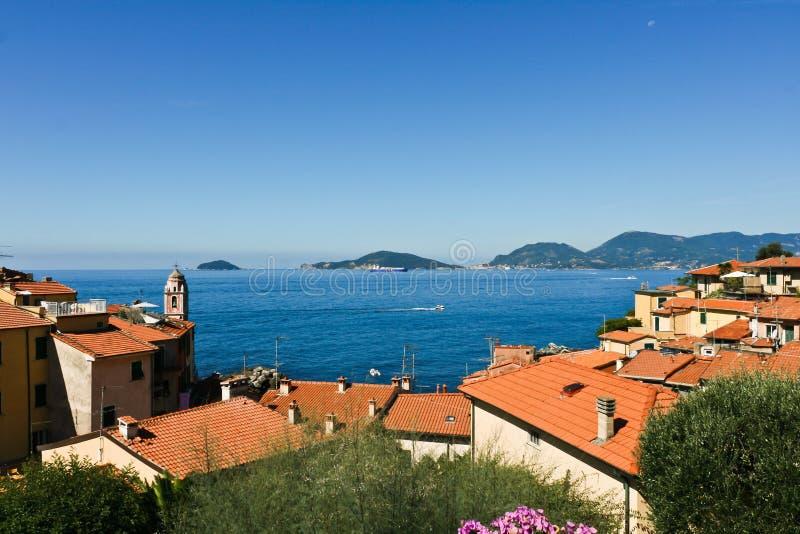 взгляд spezia la залива панорамный стоковое изображение rf