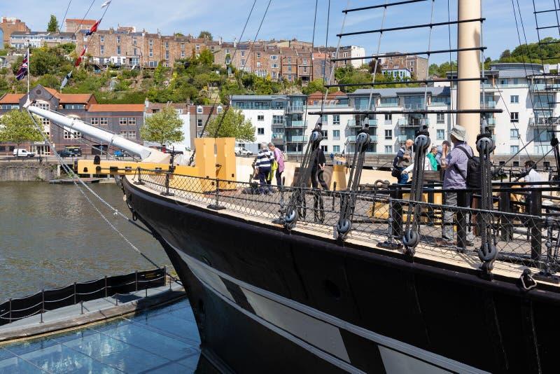 Взгляд SS Великобритании в сухом доке в Бристоле 14-ого мая 2019 Неопознанные люди стоковые изображения