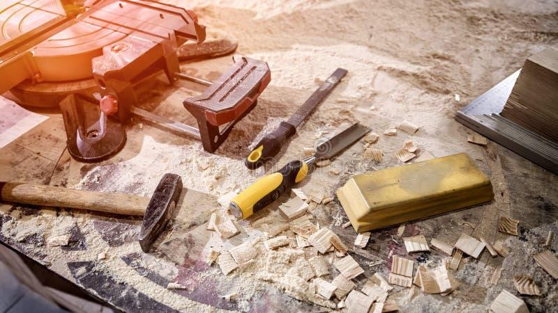 Взгляд Topl инструментов плотника стоковые изображения