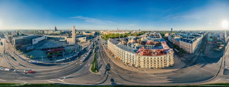 Взгляд vr сферы 360 трутня центра Риги города стоковое фото
