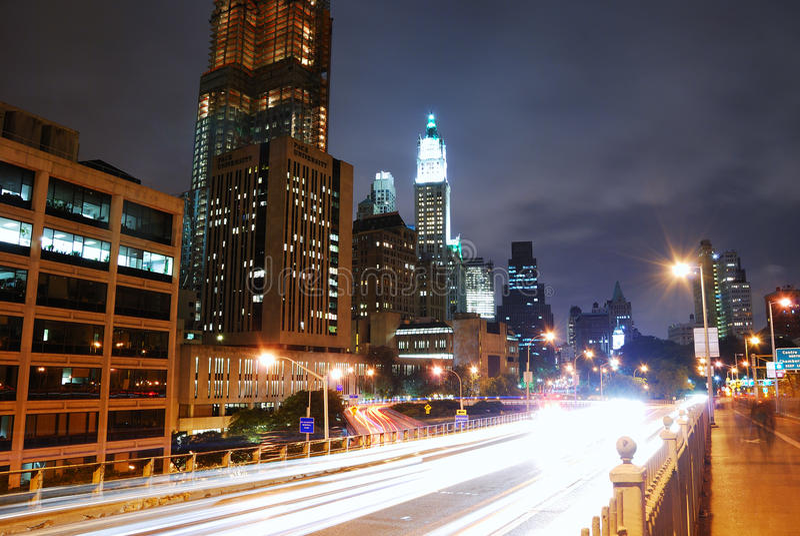 взгляд york ночи manhattan города новый стоковое фото