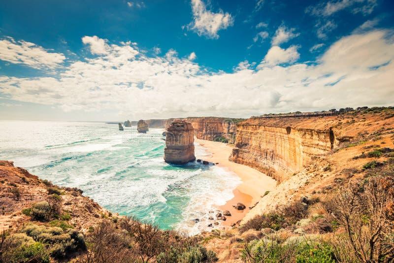 Взгляд 12 апостолов прибрежный, большая дорога океана, Виктория, Austra стоковые фотографии rf