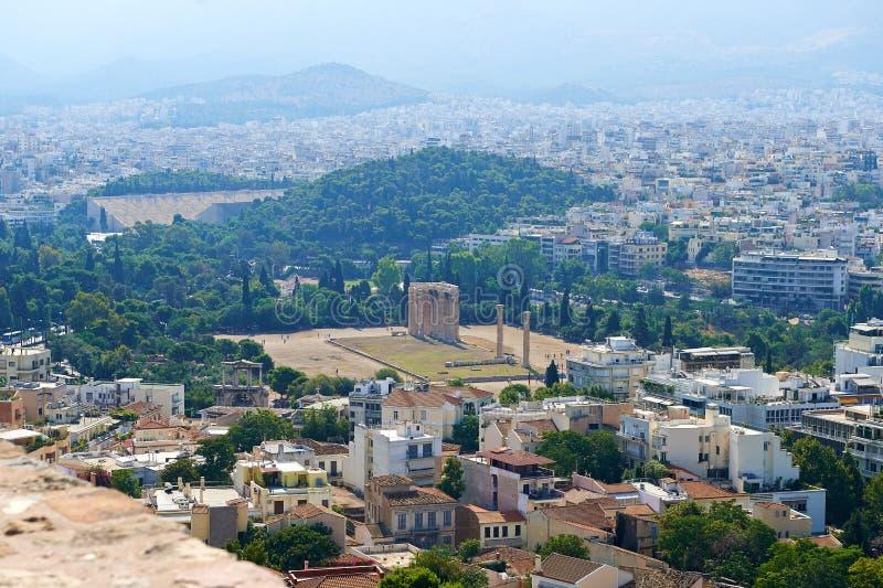 Взгляд Афин от высоты стоковая фотография