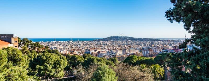 Взгляд Барселоны от парка Guell стоковое фото