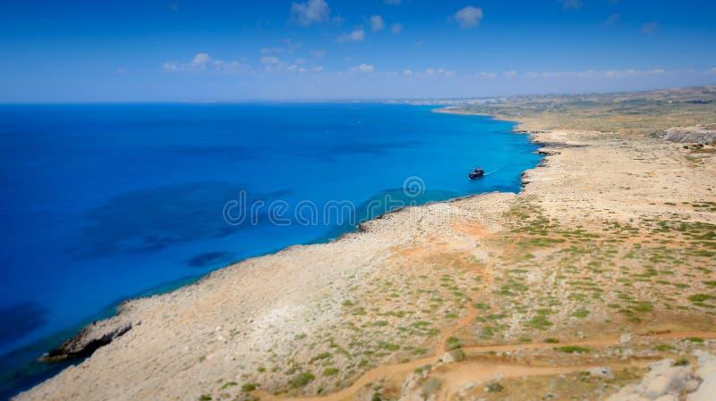 Взгляд береговой линии Greco накидки, Кипр стоковая фотография rf
