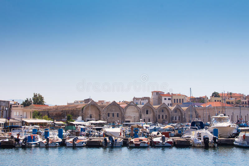 Взгляд венецианского порта Chania Крит Греция стоковые фото