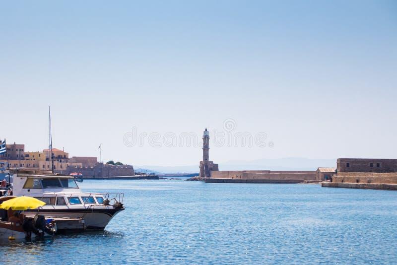 Взгляд венецианского порта Chania Крит Греция стоковое изображение rf