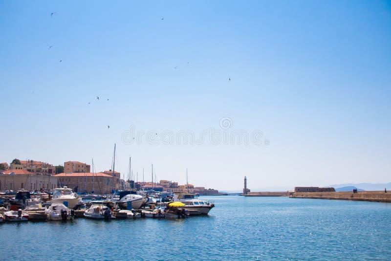 Взгляд венецианского порта Chania Крит Греция стоковое фото