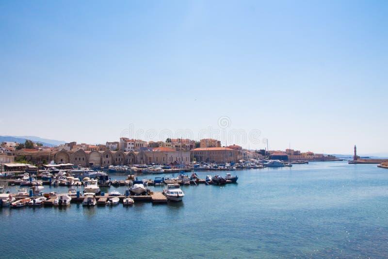 Взгляд венецианского порта Chania Крит Греция стоковые фотографии rf
