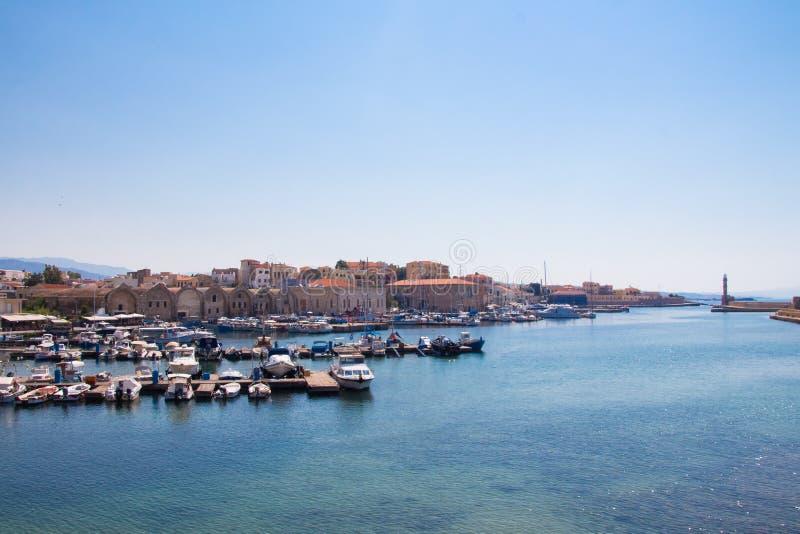 Взгляд венецианского порта Chania Крит Греция стоковая фотография rf