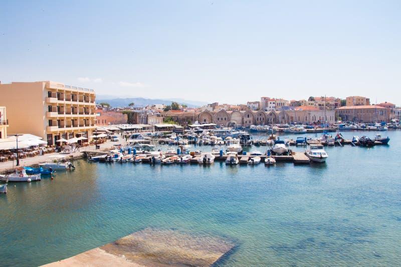 Взгляд венецианского порта Chania Крит Греция стоковая фотография