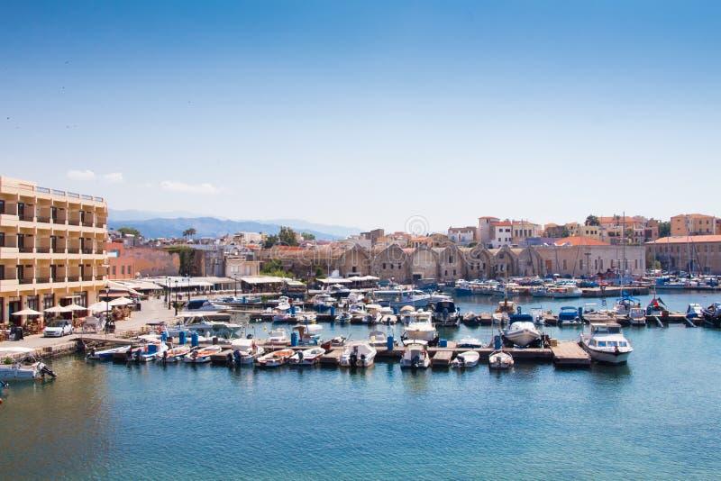 Взгляд венецианского порта Chania Крит Греция стоковое фото rf