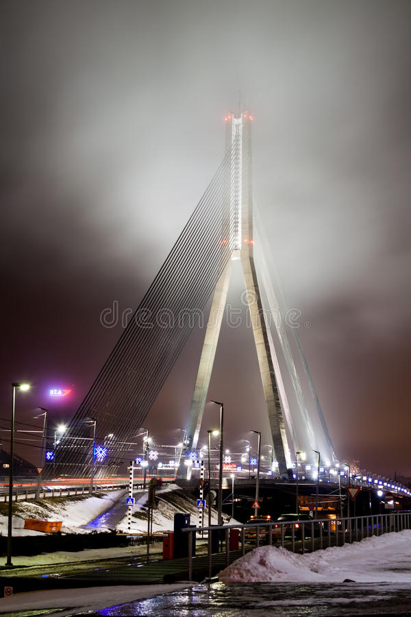 Взгляд вечера к мосту Vansu стоковые фотографии rf