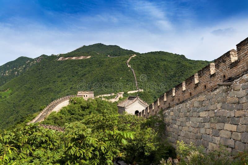 Взгляд Великой Китайской Стены Китая в Mutianyu, Китае стоковые фотографии rf