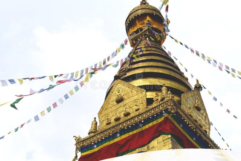 Взгляд виска Swayambhunath, премудрость наблюдает в Непале стоковые изображения rf