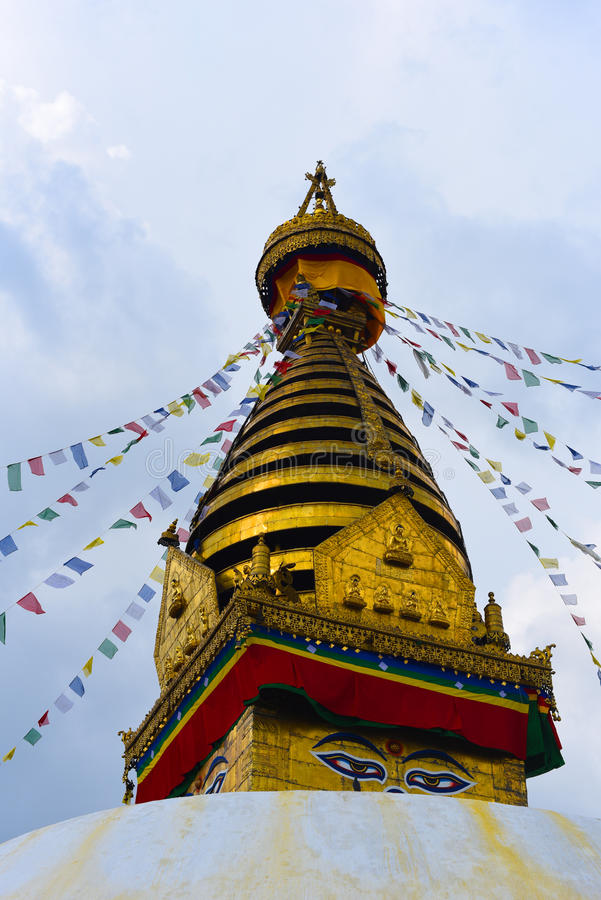 Взгляд виска Swayambhunath, премудрость наблюдает в Непале стоковые изображения