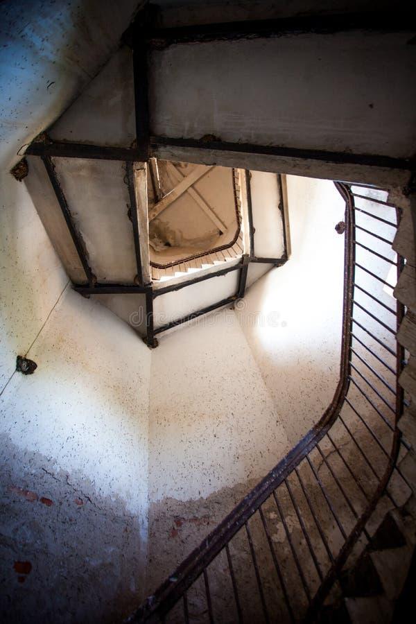 Взгляд внешней стороны спирального случая лестницы в маяке стоковое фото