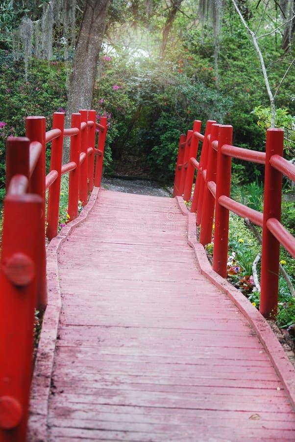 Взгляд вниз с пути красного, деревянного моста на плантации магнолии и садов стоковое фото