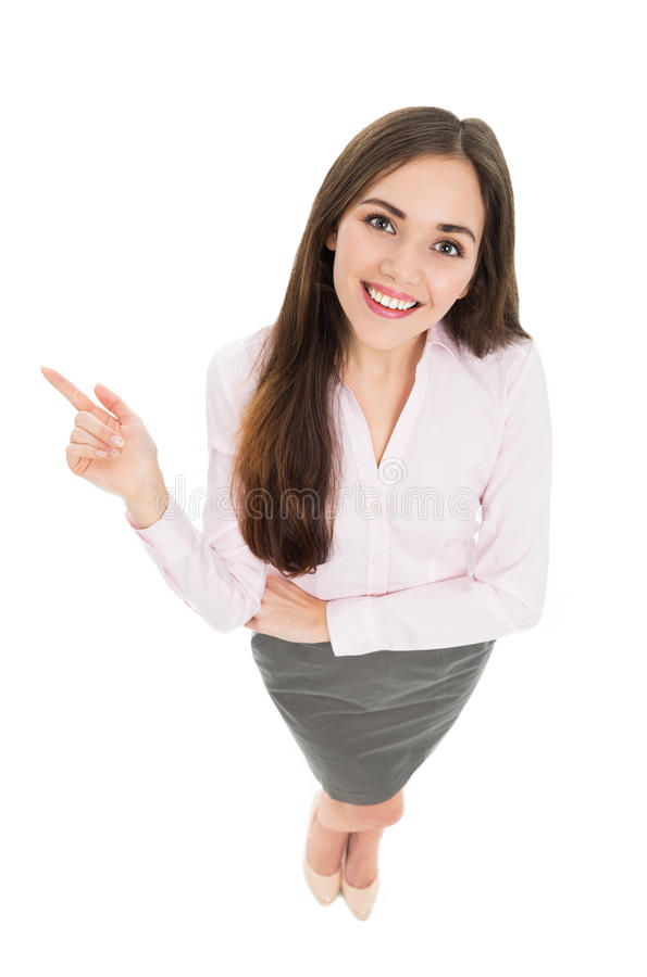 Взгляд высокого угла молодой бизнес-леди стоковые фото