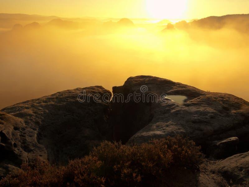 Взгляд в глубокую туманную долину над вихорами вереска Пики холма увеличенные от осени туманная сельская местность ревет, туман s стоковые изображения rf