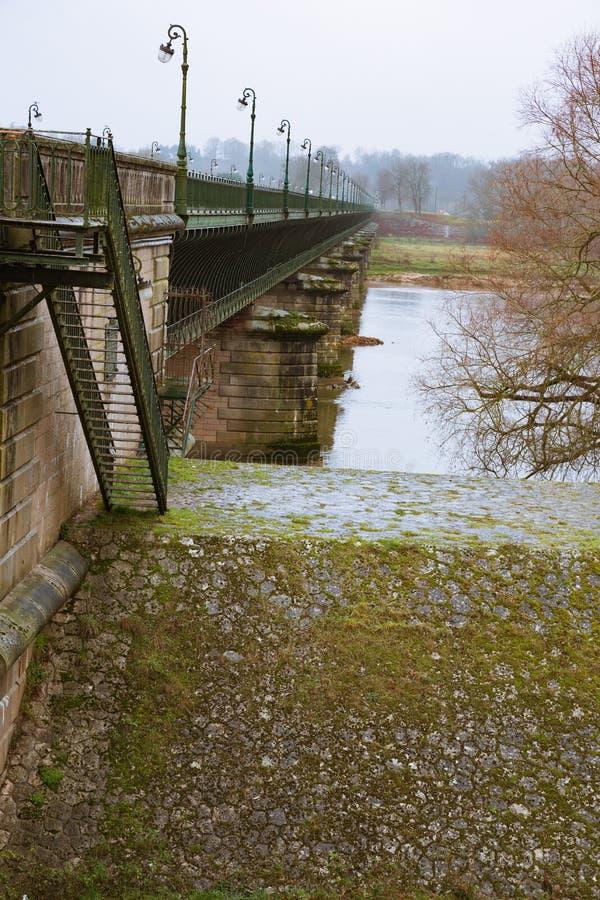 Взгляд вдоль мост-водовода Briare стоковое фото