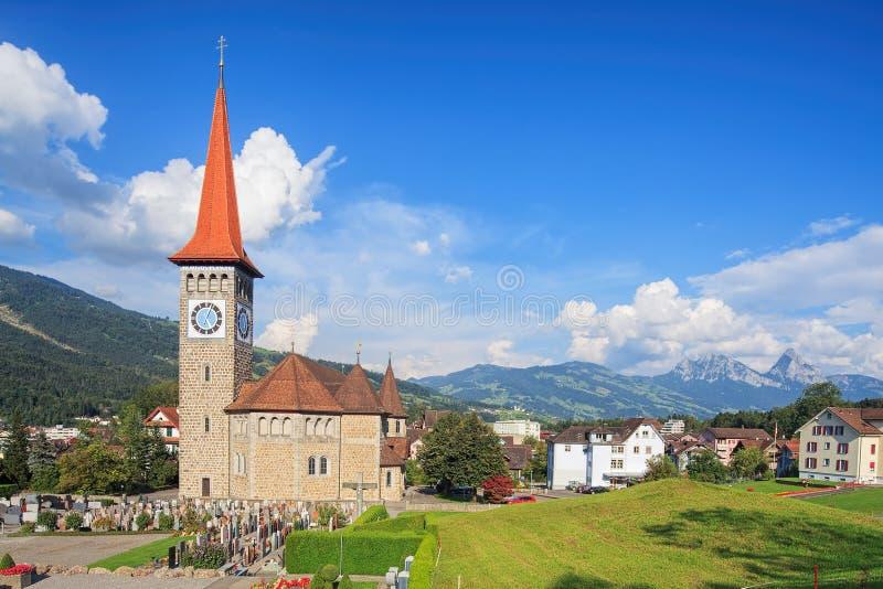 Взгляд в Goldau, Швейцарии стоковая фотография rf