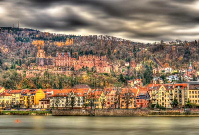 Взгляд Гейдельберга с замком, Германии стоковое фото rf