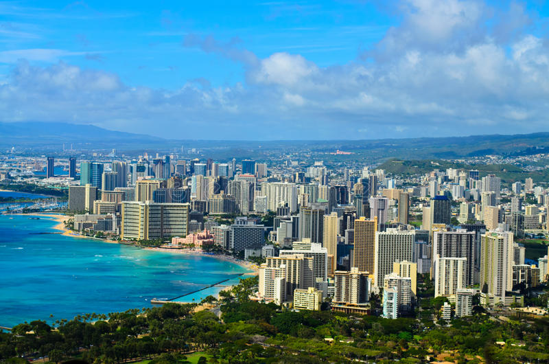 Взгляд Гонолулу города стоковое фото rf