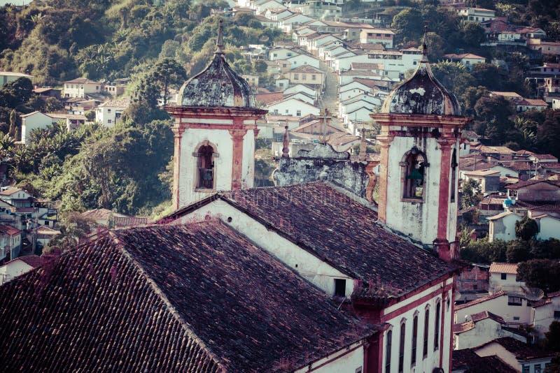 Взгляд города всемирного наследия ЮНЕСКО Ouro Preto в минах Gerais Бразилии стоковые изображения