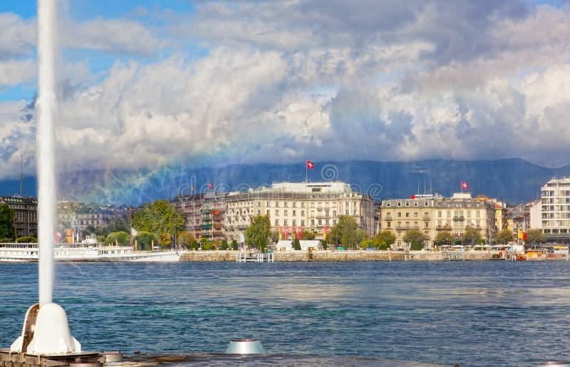 Взгляд города Женевы стоковое изображение rf