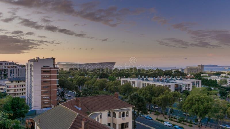 Взгляд города Кейптауна обозревая стадион Кейптауна стоковая фотография rf
