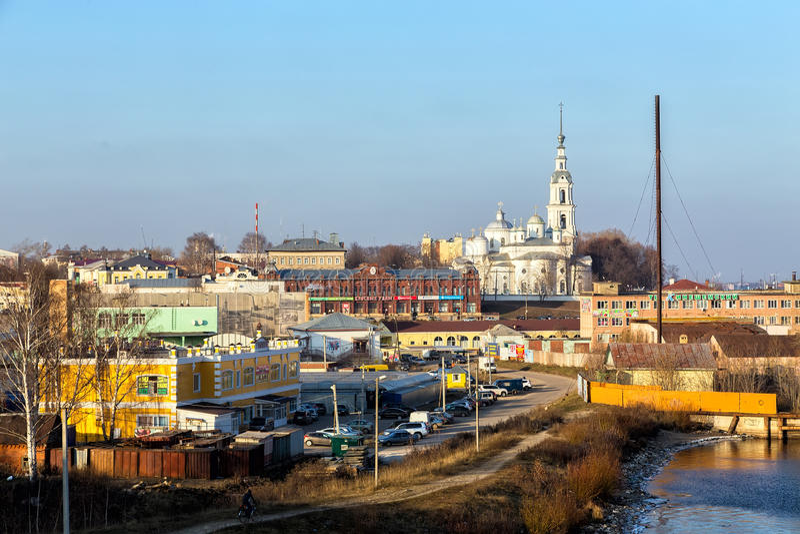 Взгляд города Kineshma, России стоковое изображение