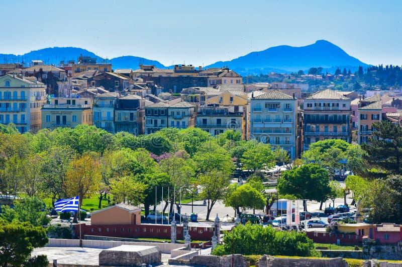 Взгляд городка Корфу панорамный от старой цитадели стоковое фото