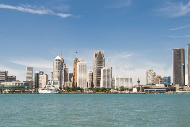 Взгляд городского пейзажа Детройта Мичигана стоковая фотография rf