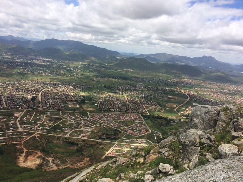 Взгляд городского пейзажа Mutare от пропуска Christemass стоковое изображение