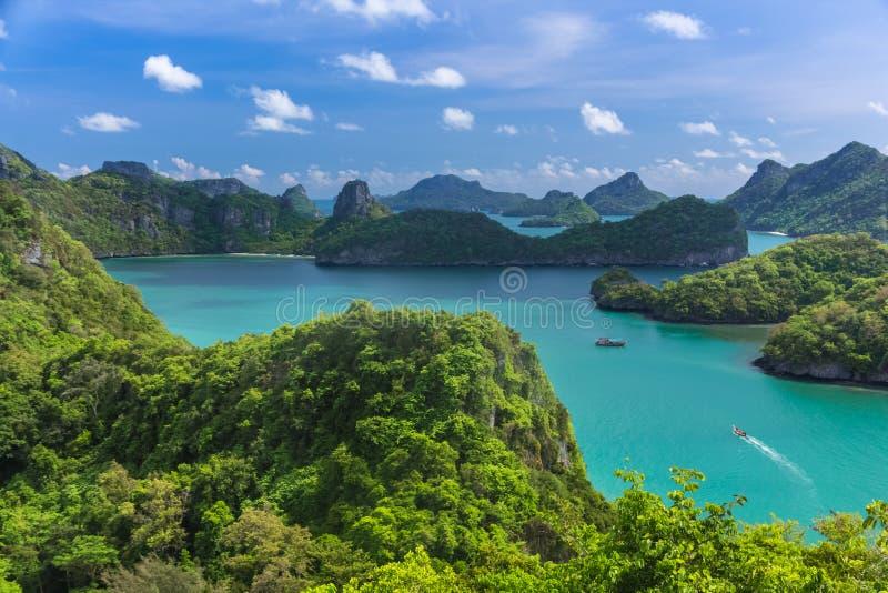 Взгляд глаза птицы моря Таиланда, острова национального p ремня Ang Mu Ko стоковое изображение