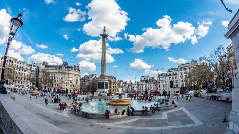 Взгляд глаза рыб квадрата Trafalgar, Лондона с фонтанами стоковая фотография rf
